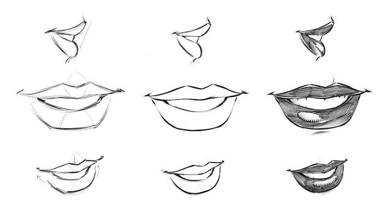 coole zeichnungen lippen mund lächel illustriert mit bleistift