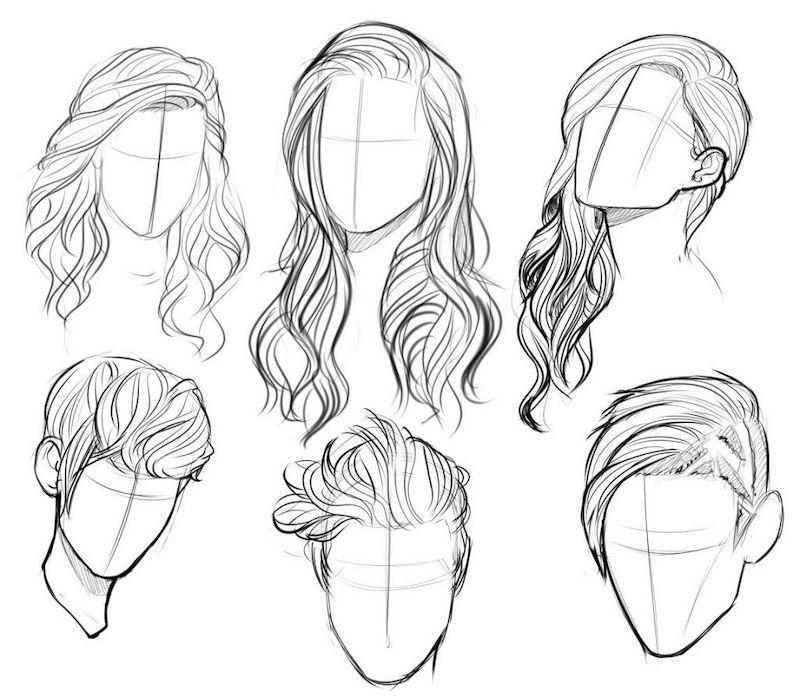 einfache zeichenideen für anfänger haarenfrisuren männer frauen illustriert