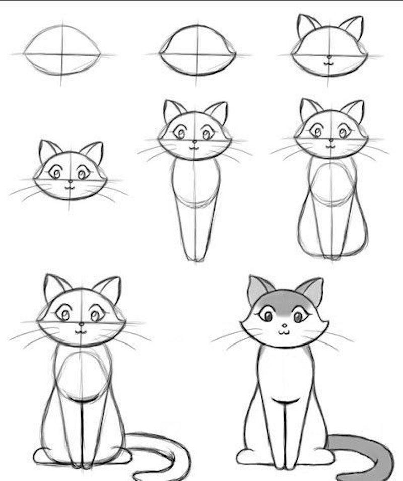 einfache zeichnungen zum nachzeichnen wie zeichne ich eine katze