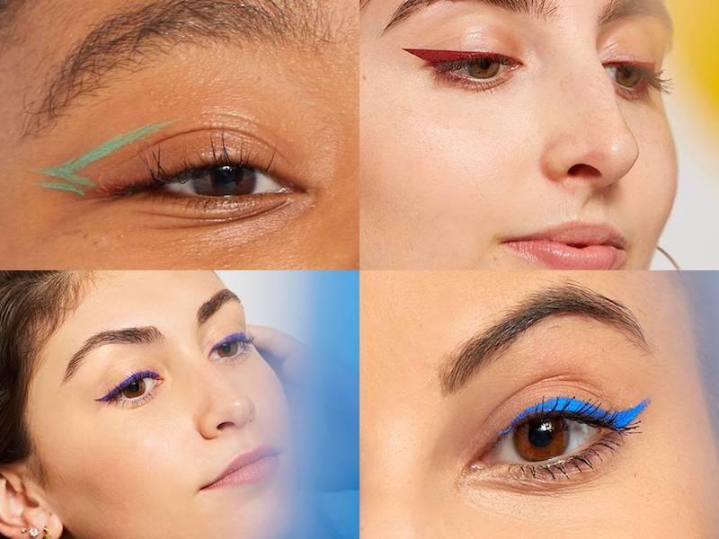 eyeliner schlupflider farbiger eyeliner collage mit farbigen eyelinern blau grün