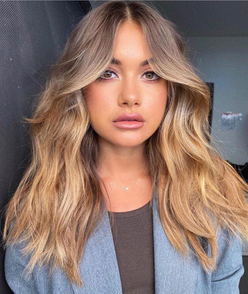 gewellte haare blond curtain bangs haare selber schneiden