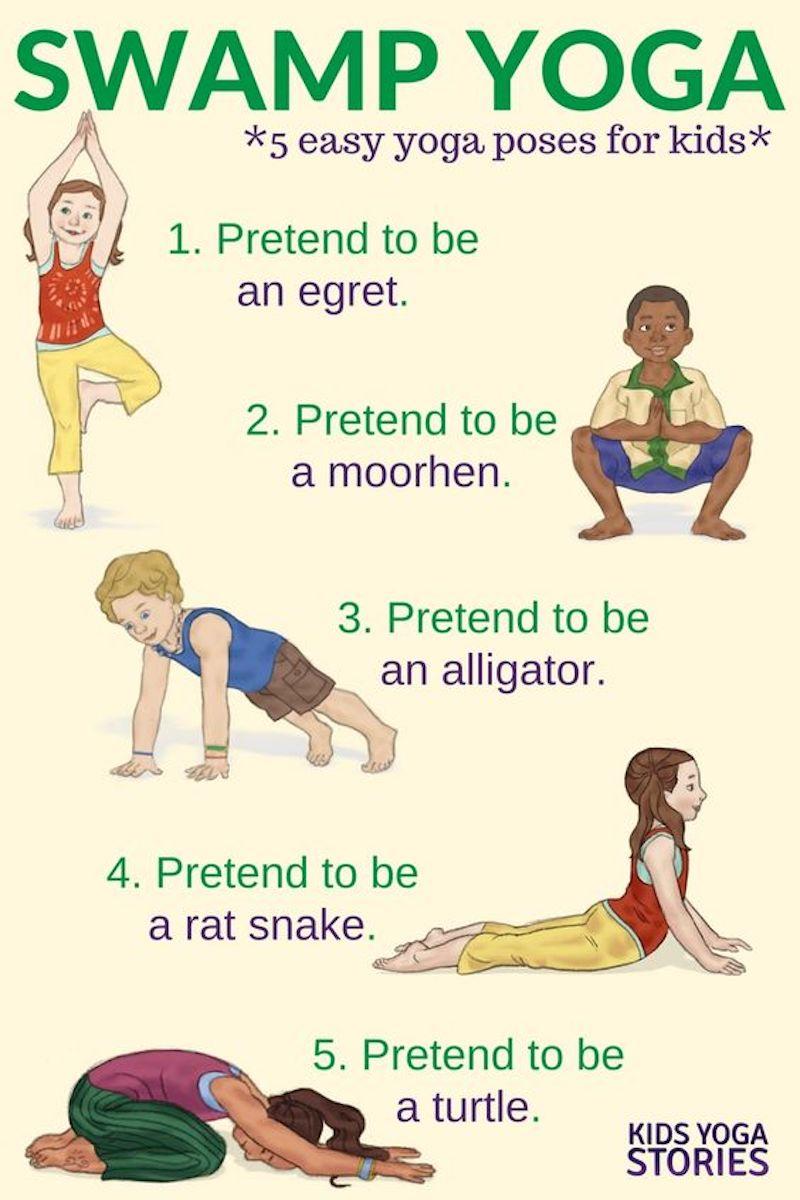 gymnastikübungen für kinder swamp yoga illustriert tierenpositionen