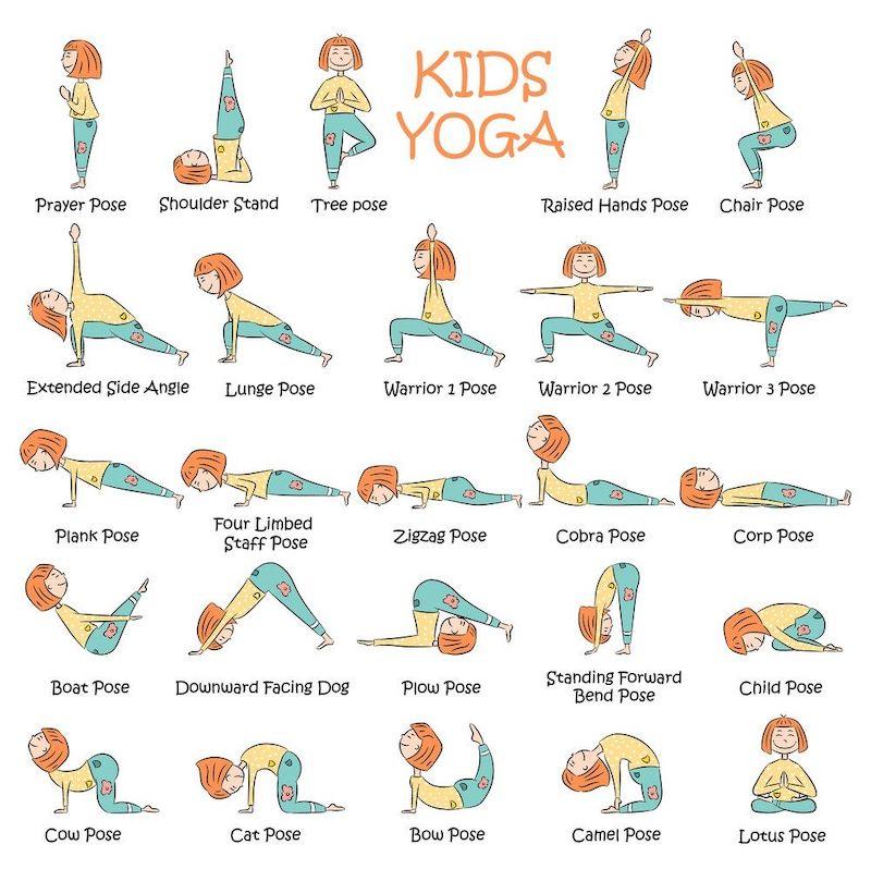 gymnastikübungen für kinder yoga für kinder positionen illustriert mit einem mädchen