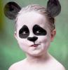 halloween make up für kinder panda schwarz und weiß mit ohren
