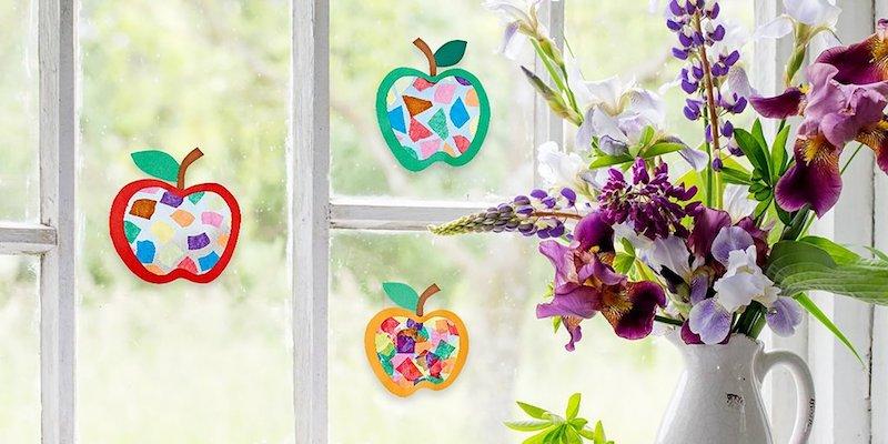herbst fensterdeko basteln fensterdeko bastelvorlage herbst äpfel blumenvase