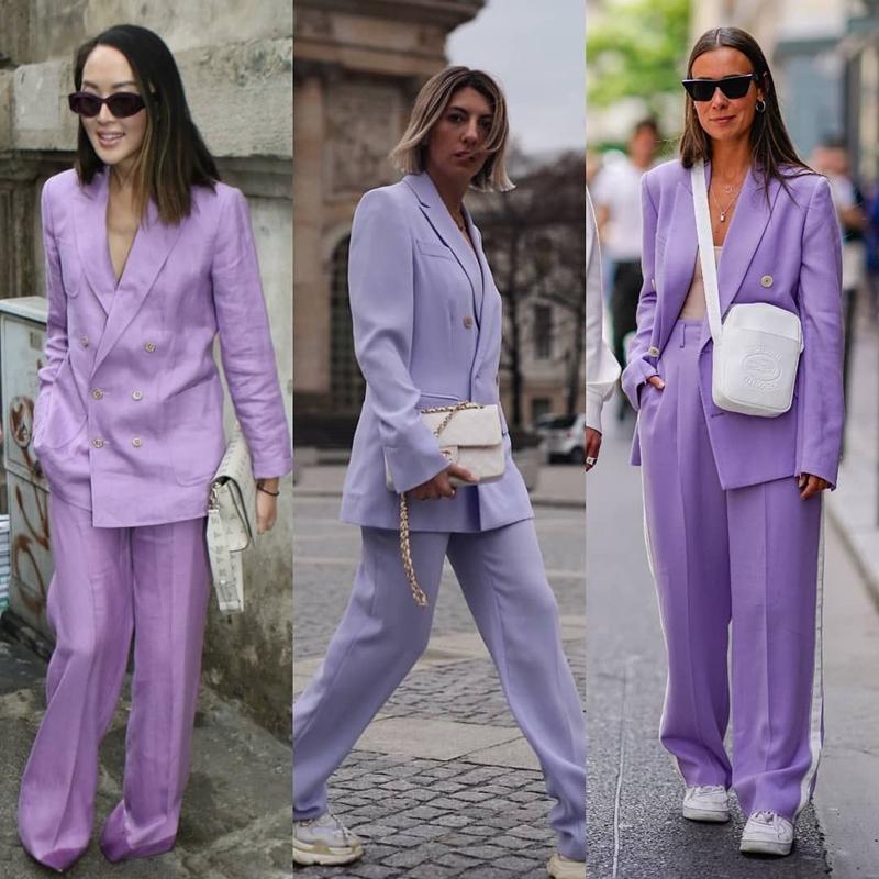 herbst outfit damen 2021 herbstmode lässiger anzug in lavendel