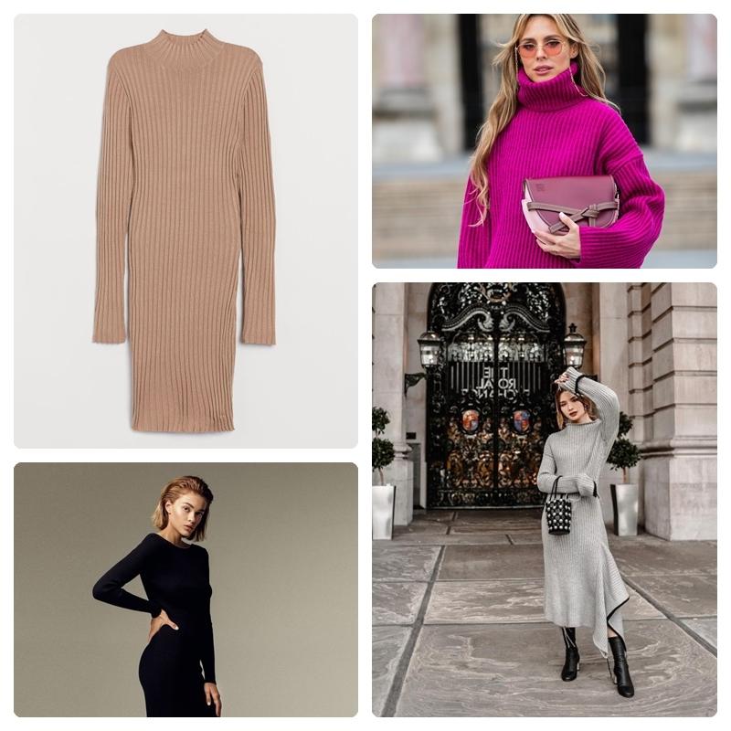 herbstmode damen 2021 strickkleider ideen kleid aus garn