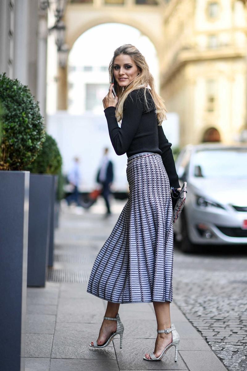 herbstmode damen 7 8 rock in lavendelfarbe schwarze bluse