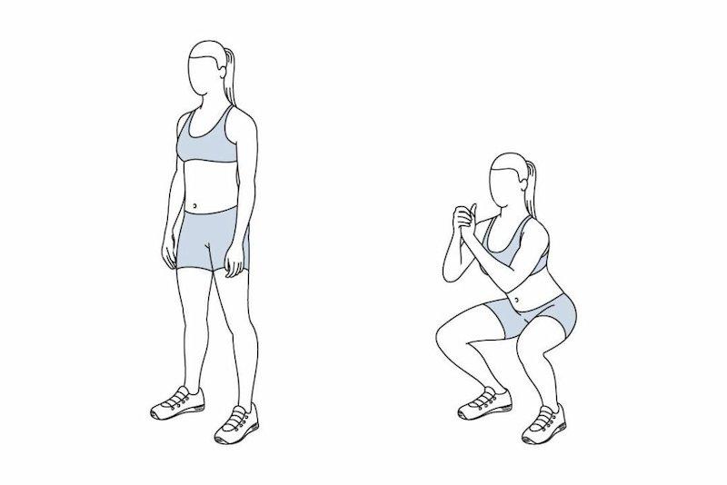 hip dips loswerden übungen squat kniebeugen illustriert ein mädchen im sportanzug