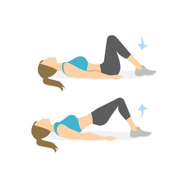 hip thrust mit eigengewicht gesäßbrücke illustriert mädchen im sportanzug