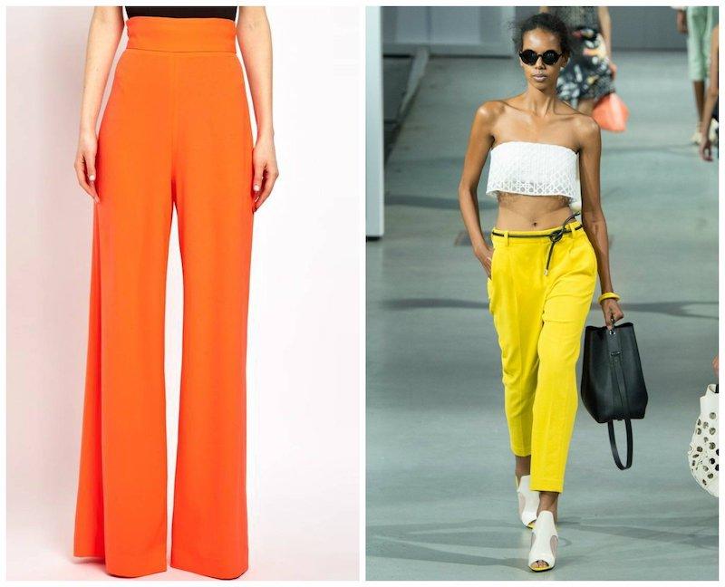 hosen trends 2021 damen gelbe hose und orange hose