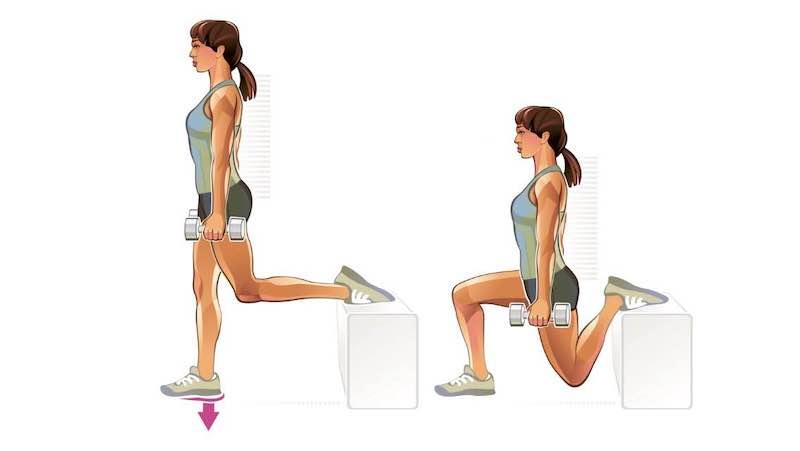 kann man hip dips loswerden bulgarian split squat illutsriert mädchen mit hanteln in den händen