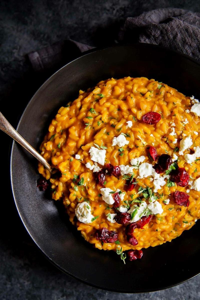 kürbiss risotto herbstgerichte vegetarisch zubereiten leichte rezepte