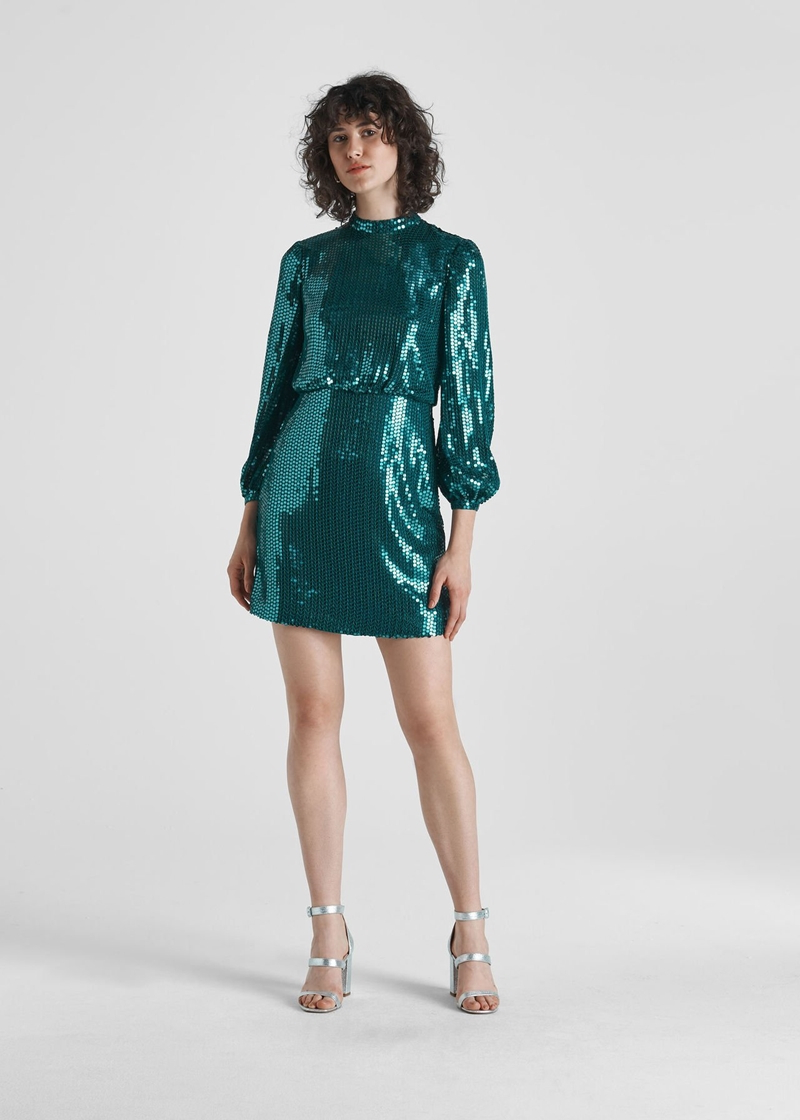 mode herbst 2021 kleid mit pailetten in türkis