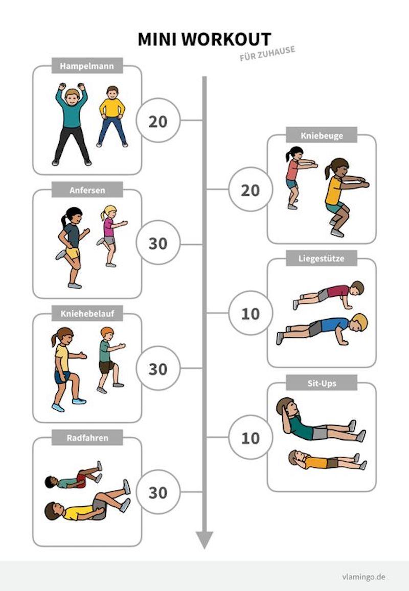 morgensport übungen mini workout für kinder illustriert mit mädchen und jungen