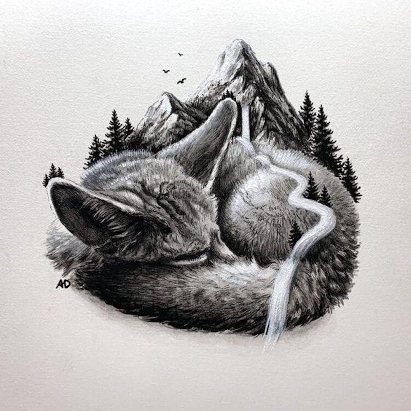 schöne zeichnungen ein fuchs in form eines gebirges illustriert mit bleistift
