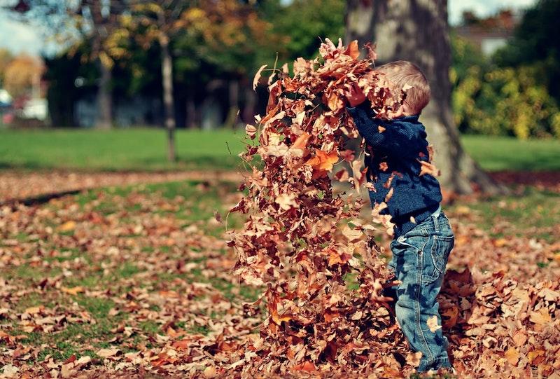 spiele zum auspowern für kinder ein kind wirft laub im freien