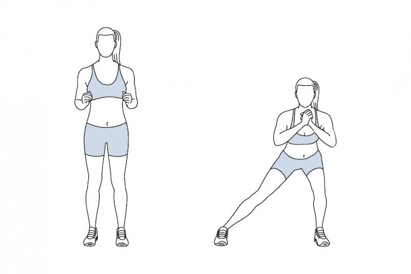 übungen hip dips side lunge illustriert mädchen im sportanzug