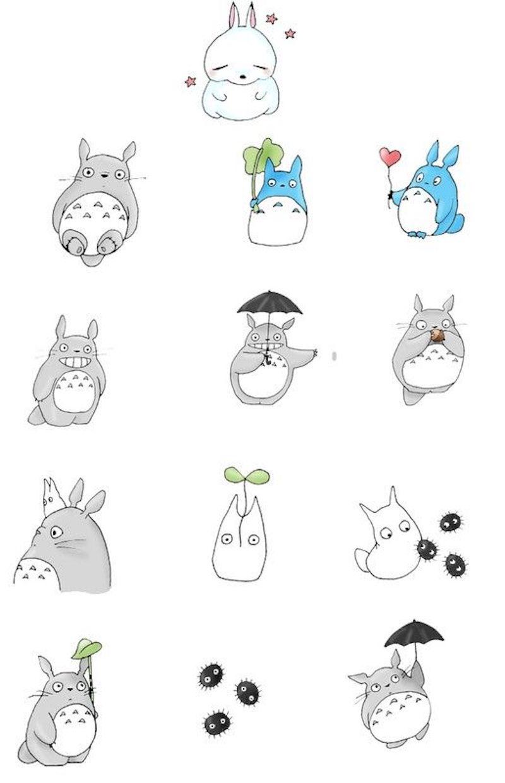 zeichnen ideen leicht totoro japanischer film studio ghibli illustriert gefärbt