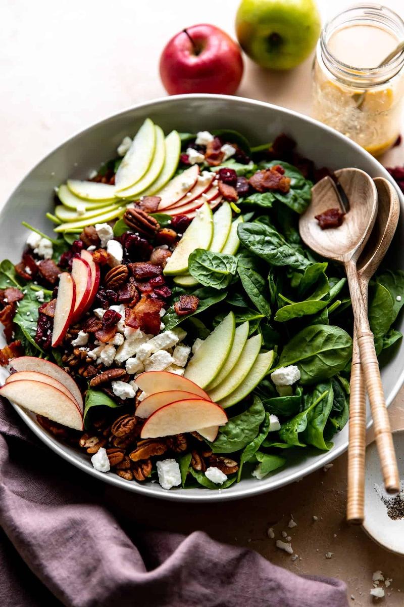 abendessen ideen salat herbst mit spinat und äpfeln zubereiten