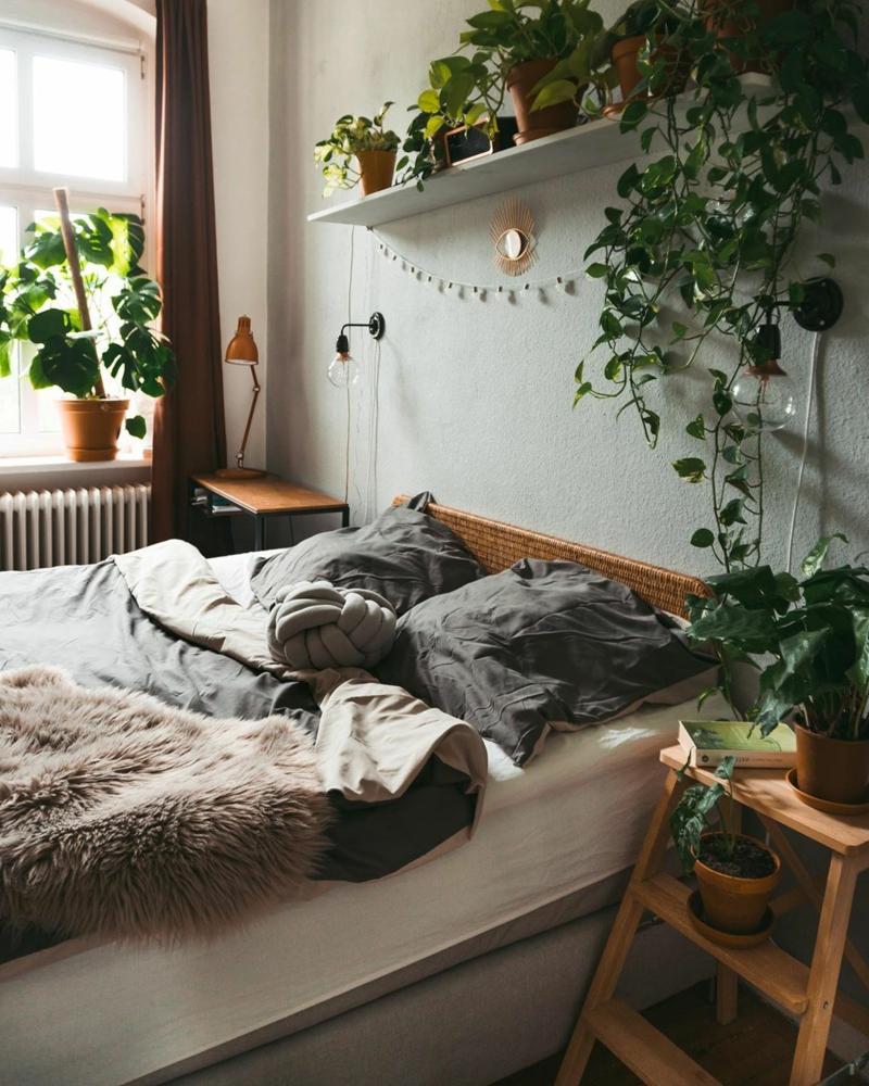 boho chic einrichtung pflanzen fürs schlafzimmer wählen
