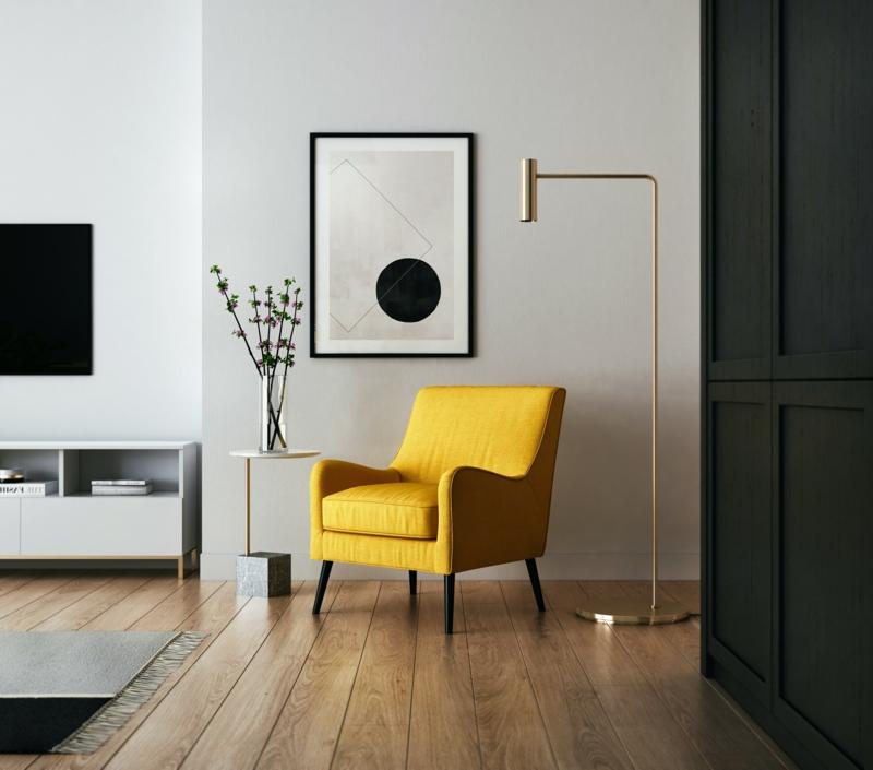 gelber sessel minimalistische einrichtung inspo