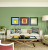 grüne wand wandgestaltung ideen wohzimmer einrichten