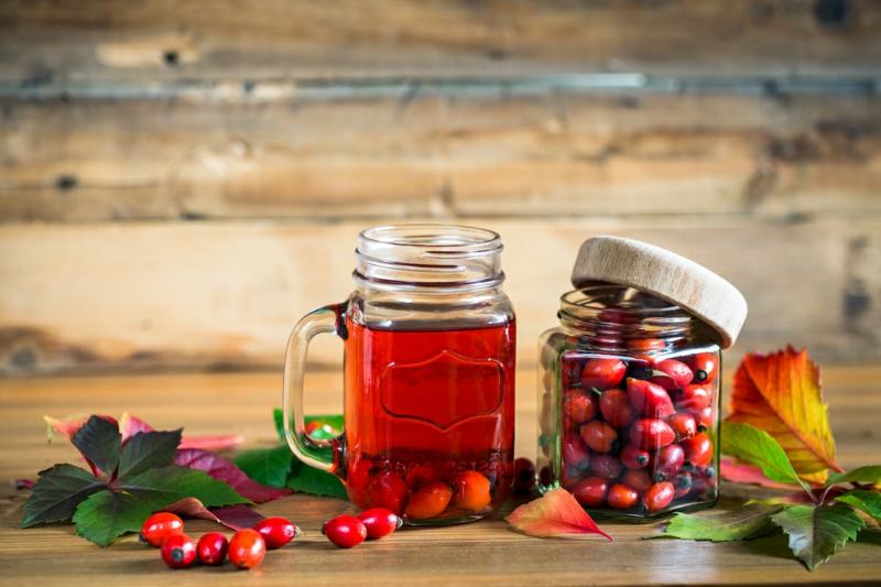 hagebuttentee selber machen ein glas mit rotem tee und roten hagebutten