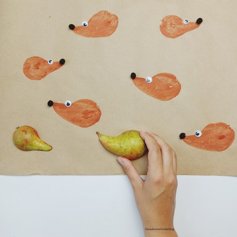 herbstdeko basteln kinder igel auf papier mit birne malen