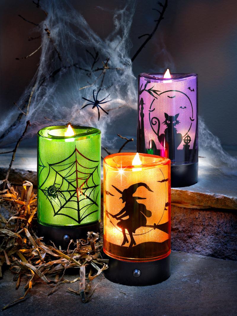 herbstdeko mit led kerzen halloween deko drei kerzen