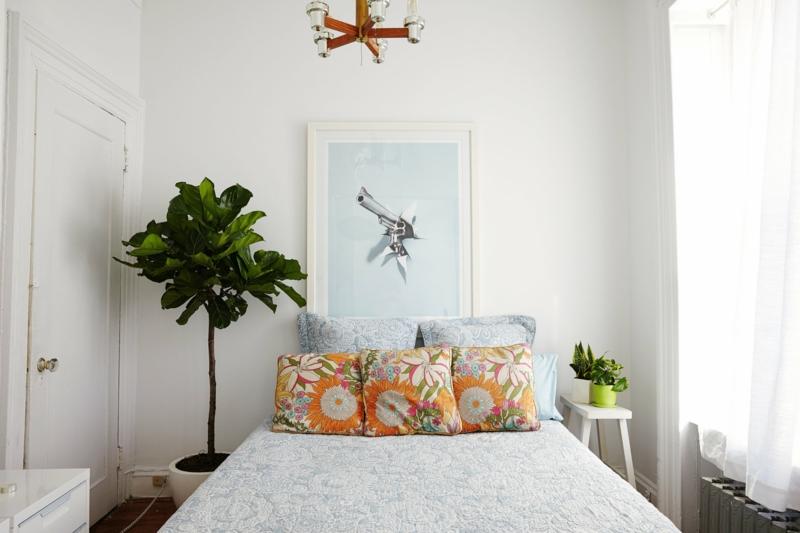 minimalistische einrichtung luftreinigende pflanzen schlafzimmer