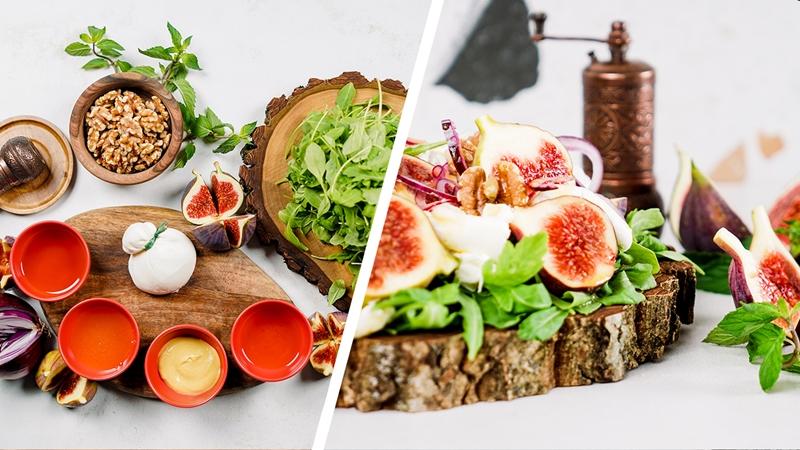 rezepte mit feigen gesunder salat mit rukola käse walnüssen und feigen