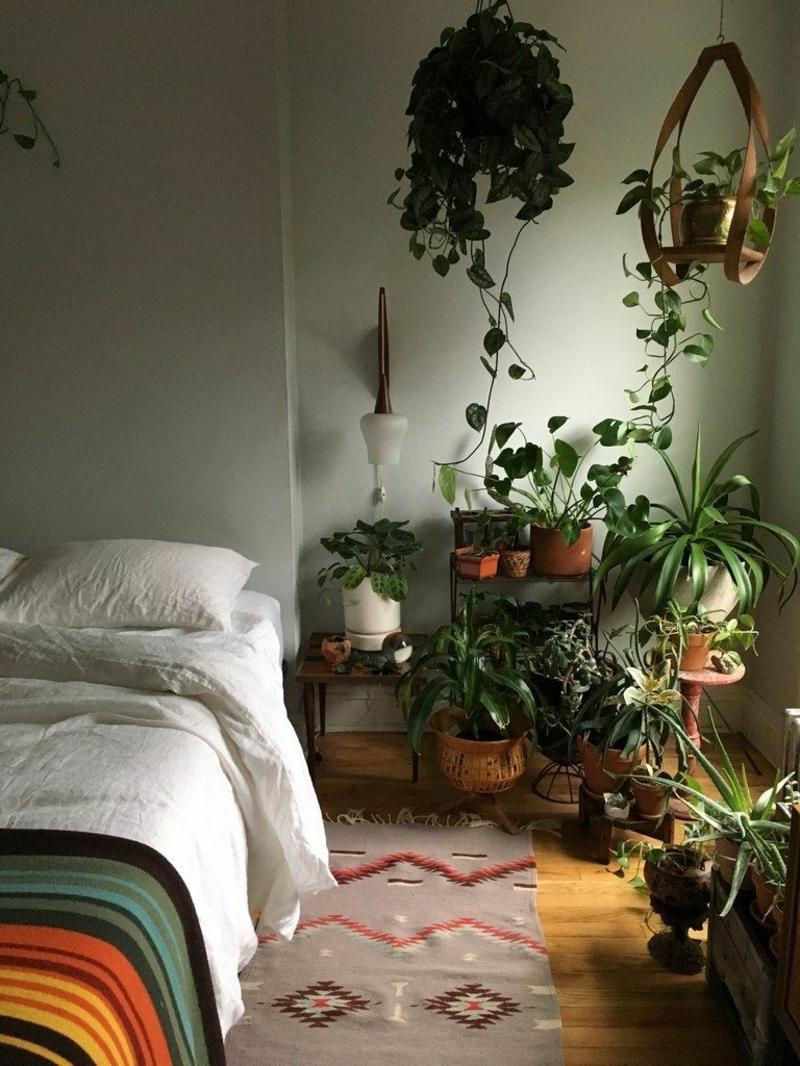style boho chic schlafzimmer pflanzen wählen infos